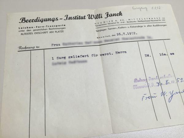 Rechnung Bestattung 1950 in Neuwied
