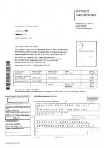 Betrug: Anschreiben des Trauerregister