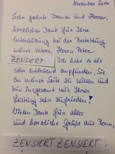 Dankkarte Beerdigungsinstitut Janek Neuwied